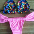 Abstract Print Halter Top and Pink Ruched Bottom Triangle Bikini