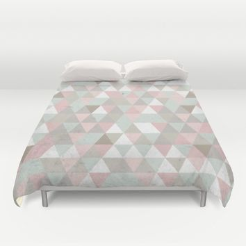 Shabby chic triangles Duvet Cover by Xiari
