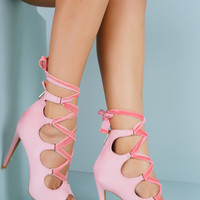 Rina Ballerina Lace Up Heels - Pink