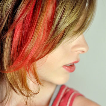 CLEARANCE - Red Orange Hair Chalk - Hair Chalking Pastels - Temporary Hair Color - Salon Grade - 1 Large Stick