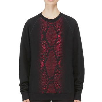 Christopher Kane Black Snakeskin Graphic Sweatshirt