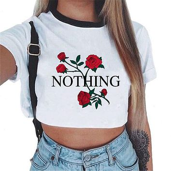 2018 Harajuku Summer Unicorn Alien Letter Printed Sexy Crop Top Women Tops Tank Crop-top Casual White Cropped Feminino