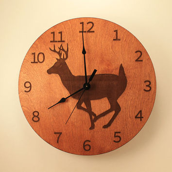 Deer laser cut clock Wood clock Wall clock Nature clock Wooden wall clock Hunting decor Hunting gift Home clock Deer decor Wildlife clock