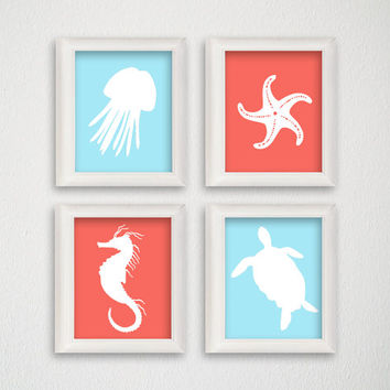 Sealife Art Print Set, Nautical Home Decor, Beach Art Print, Nursery Art Print, Sea Nursery, Jellyfish, Starfish, Seahorse, Sea Turtle