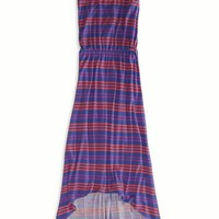 AEO Women's Striped Cinched Hi-lo Maxi Dress (Blue)