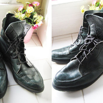 8.5 hunter green genuine leather combat boots hi top grunge punk rock n roll made in U.S.A