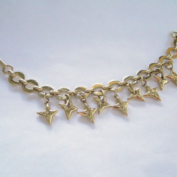 HUGE Sale Golden Stars Vintage Bracelet 4 Point Nautical Stars Charm Bracelet