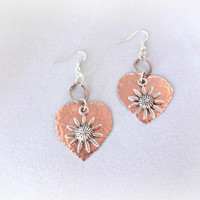 Valentines Day Gift, Copper Heart Artisan Earrings, Metalwork