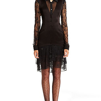 DVF Cathy Satin Embellished Tux Dress