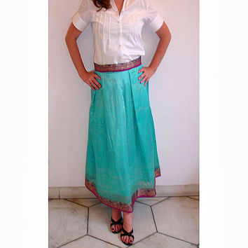 Indian Sari Skirt: Long Pleated Aqua Turquoise Blue Indian Saree Full Maxi Skirt