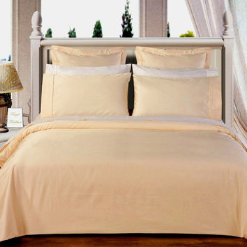 "Ivory 550TC Olympic Queen Solid Bed in A Bag 90x92"" Egyptian cotton With Down Alternative Comforter"