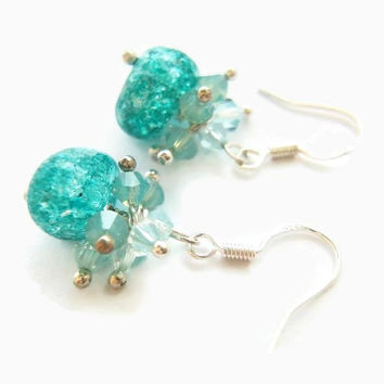Queen Elsa Frozen inspired turqoise ice cluster earrings, stone, crystals, christmas gift, jewelry, for her, blue green, teal