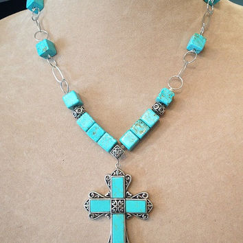 Southwestern Style Sterling Silver Chunky Cube Box Turquoise Rosary Necklace with Detailed Large Turquoise Cross Pendant Handmade Jewelry