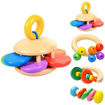 Baby Toys Bell Wooden Toys Rattle Hand bell Musical Educational Instrument Rattles Handle Kids Toys For Newborns Children Baby Toy
