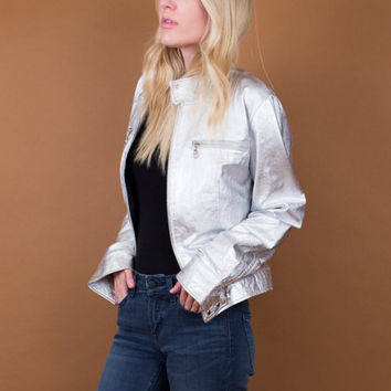 SILVER metallic leather jacket / 90's leather bomber jacket / minimalist modern