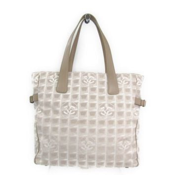 Chanel New Travel Line A15825 Women's Nylon Canvas Tote Bag Beige BF312564