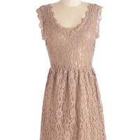 ModCloth Short Length Cap Sleeves A-line Going to the ChC teau Dress in Chamoisee