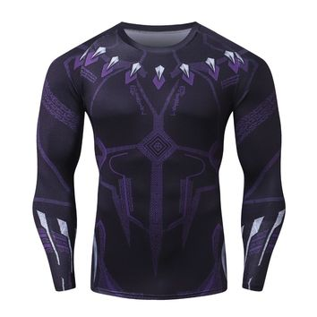 Avengers Infinity War Black Panther 3D Compression Men T-Shirt New Brand Fashion Long Sleeve Casual T Shirt Crossfit Tops&Tees