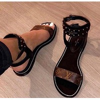 LV Louis Vuitton Summer Trending Women Stylish Leisure Leather Sandals Flat Shoes I-ALS-XZ
