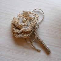 Burlap & Lace Boutonniere, Groom and Groomsmen Boutonniere, for Rustic, Country, Bohemian, Woodland, Style Weddings. Made to Order.