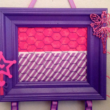 Fairy Princess accessory Frame chicken wire purple pink bow jewelry photo organizer holder bulletin board embellished custom orders welcome