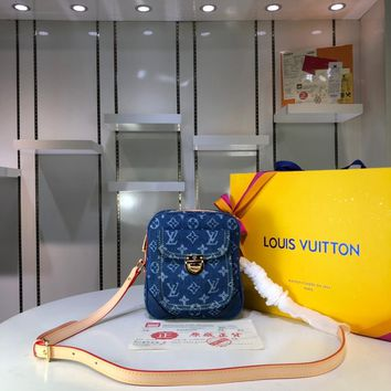 DCCK Lv Louis Vuitton Fashion Women Men Gb2965 Vintage Denim Cross-body Bag 17x20x7cm