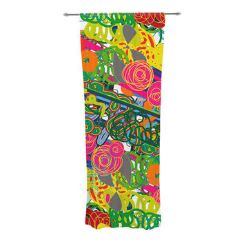 "Frederic Levy-Hadida ""Psychedelic Garden"" Decorative Sheer Curtain"