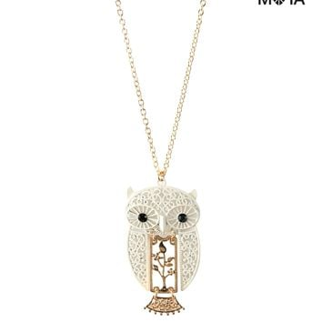 Aeropostale Womens Owl Filigree Long-Strand Necklace - Beige, One