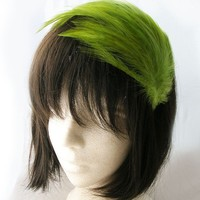 Moss Green feather fascinator multi layers of by CastleMemories