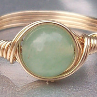 Green Aventurine 14k Gold Filled Custom Sized Wire Wrapped Ring