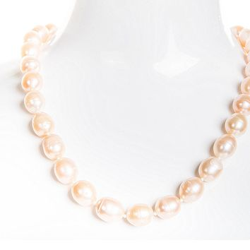 Single Strand Rice Shape Peach Freshwater Pearl Necklace 11mmx13mm
