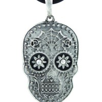 ac spbest Spider Web Sugar Skull Necklace DOD Halloween Jewelry