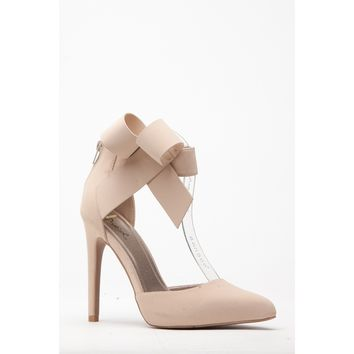 Nude Faux Nubuck Bow Accent Ankle Strap Pointy Heels @ Cicihot Heel Shoes online store sales:Stiletto Heel Shoes,High Heel Pumps,Womens High Heel Shoes,Prom Shoes,Summer Shoes,Spring Shoes,Spool Heel,Womens Dress Shoes
