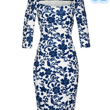 2017 New Women Dress Summer Elegant Floral Print Vestidos Work Business Casual Party -0331