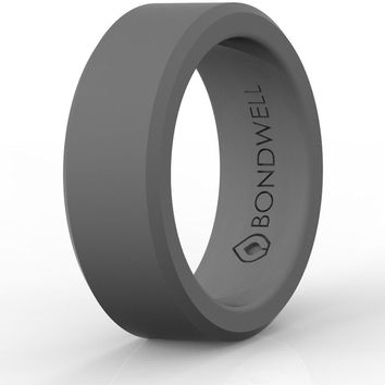 "BEST SILICONE WEDDING RING FOR MEN ""Protect Your Finger & Marriage"" Safe, Durable Rubber Wedding Band for Active Athletes, Military, Crossfit, Weight Lifting, Workout - 100% Guarantee"