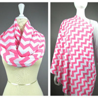 Nursing Cover, Nursing Scarf, Nursing Cover Scarf, Chevron Infinity Scarf, PINK
