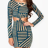 printed-cut-out-knot-dress BURGBEIGE TEALBEIGE - GoJane.com