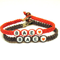 Set of Two Couples or Friendship Bracelets, BAE, Before Anyone Else, Red and Brown Hemp Jewelry, Made to Order