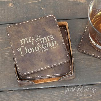 Square Personalized Leather Coaster Set of 6 - Rustic CB07