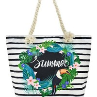 Tropical Floral Toucan Summer Print Vegan Shoulder Tote Bag Purse - 2 Prints