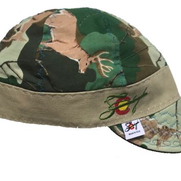 a57c9cad3f20a Deer Camo Hybrid Welding Cap Embroidered Size 7 3/8