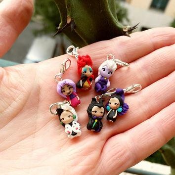 Disney villain charm inspired , choose your favorite, Maleficent,Mad Madame Mim,Cruelle, Red Queen ,Ursula,Yzma,Grimilde . Disney Clay charm