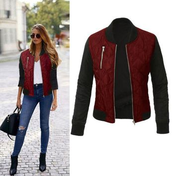Women's Classic Padded Bomber Jacket Ladies Vintage Zip Up Biker Trench Coat