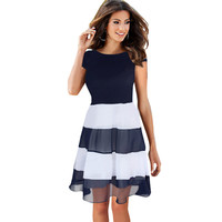 Women Casual Stripe Patchwork Dress Summer short Sleeve Dress Knee-length A-line Blue Dress for Women