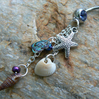 starfish belly ring  abalone seashells charm in beach boho gypsy hippie belly dancer  beach hipster and fantasy style