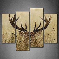 4 Panel Wall Art Deer Stag With Long Antler In The Bushes Painting The Picture Print On Canvas