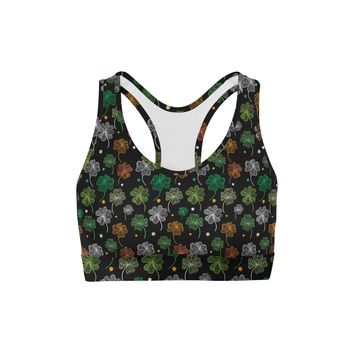 Colored Clovers Back Color Sports Bra