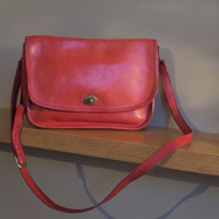 Rare Red NYC Coach Vintage City Bag Shoulder Bag Red Leather Cross-body Turn lock Flap Purse- Made in U.S.A N.Y.C.- VGC