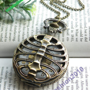 Retro copper punk rib bone pocket watch necklace pendant jewelry vintage style