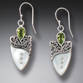Zealandia Designs Mother of Pearl Sterling Silver Earrings with Peridot